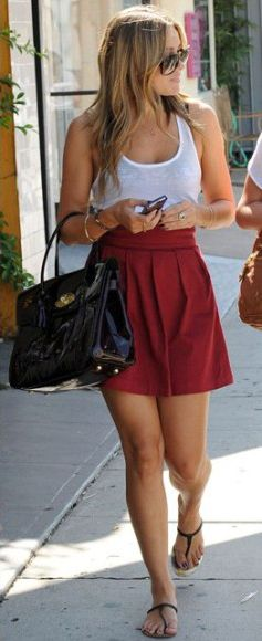 LCFashion, Casual Style, Summer Outfit, Lauren Conrad Outfit, Summer Style, Lauren Conrad Style, Hair Color, High Waist Skirts Outfit, Red Skirts