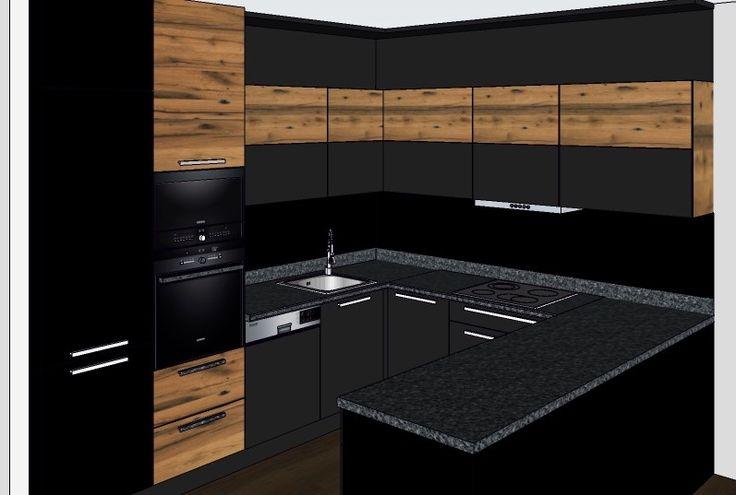 kuchyň Pančava černá mat + dub
