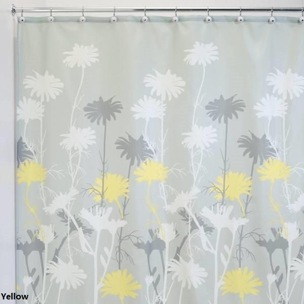 Daizy Fabric Shower Curtain 3 Colors Gray Shower Curtains