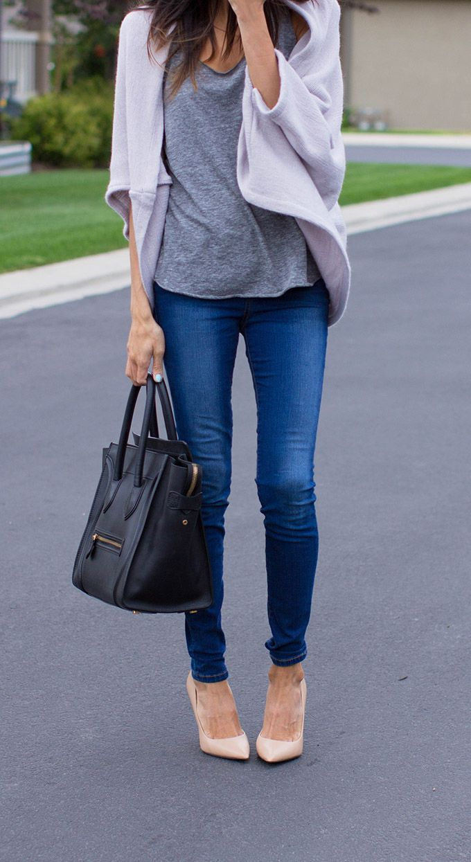 Hello Fashion: SHADES OF GREYChic Outfit, Hello Fashion, Casual Outfit, Style, Soft Colors, Fall Winte, Nude Heels, Casual Looks, Big Bags