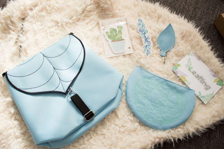 Pastel Blue Gift Box contents Leaflingbags Etsy Shop