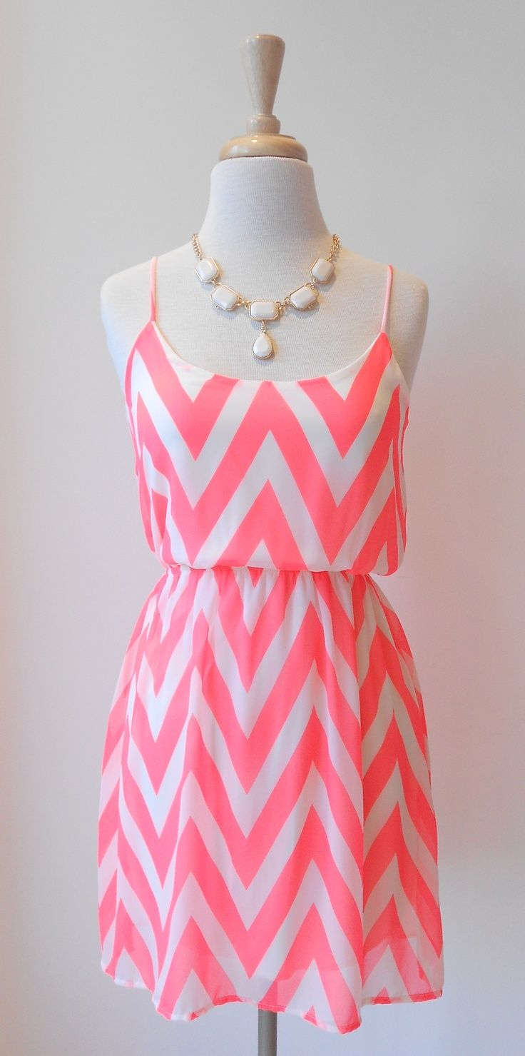 Cute Neon Pink Chevron Dress With Beautiful Necklace