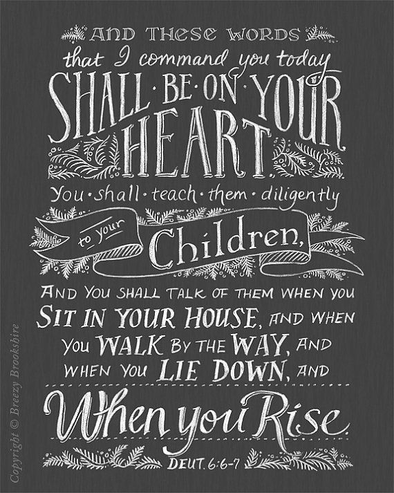 Teach Them Diligently - Chalkboard Bible Verse Art Print - 8x10 via Etsy