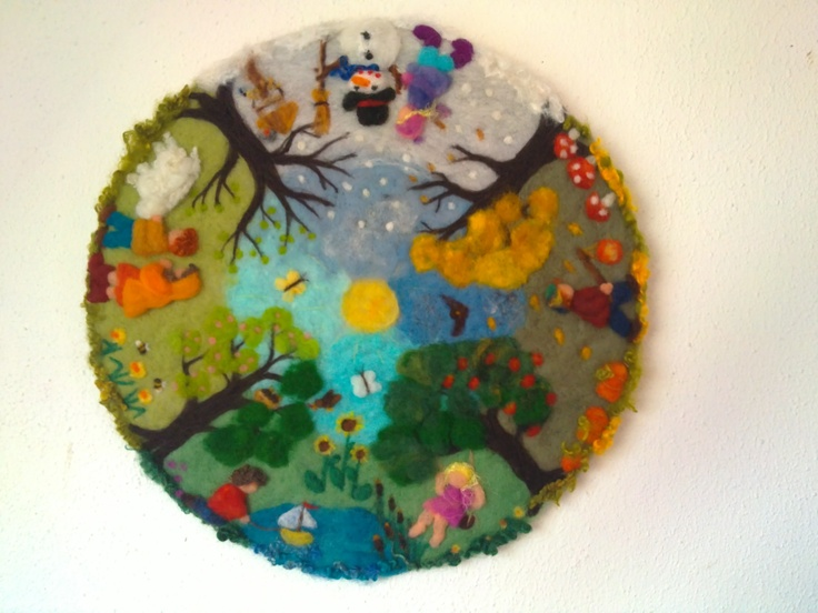 "Waldorf style needle felted painting ""four seasons "" made by Aurea Maduro"