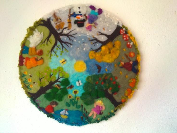 "Waldorf style needle felted painting ""four seasons "" made by Aurea Maduro"