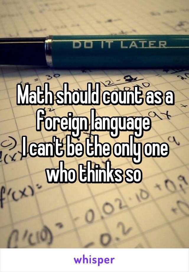Math should count as a foreign language  I can't be the only one who thinks so