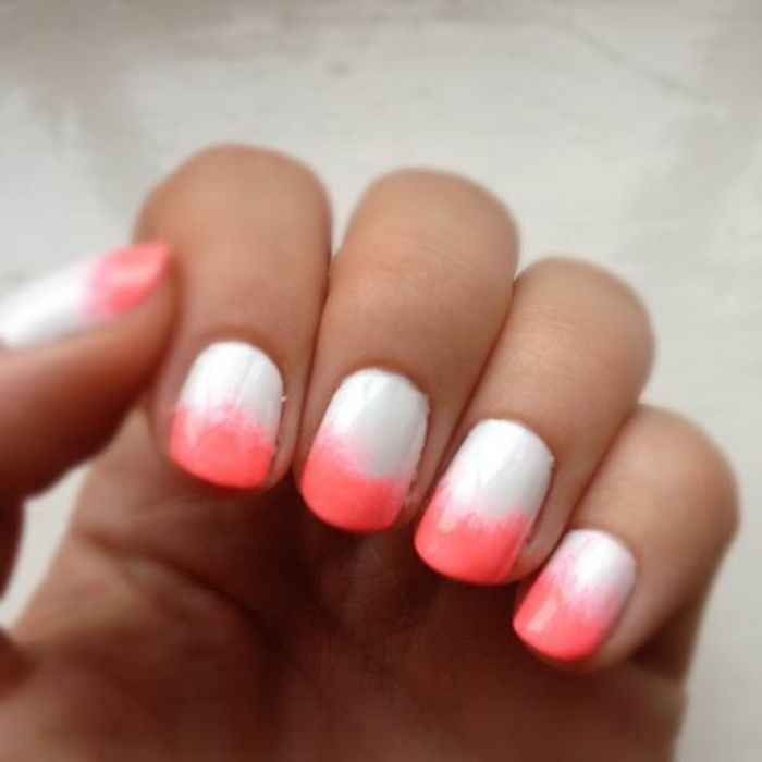 modele ongle gel en blanc et rouge, déco ongles