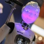 Socibot is a robot torso, it is seated on a control panel. It only moves its glowing head, but nevertheless shows many emotions this way. In this picture, it clearly just heard a very naughty joke, we reckon.