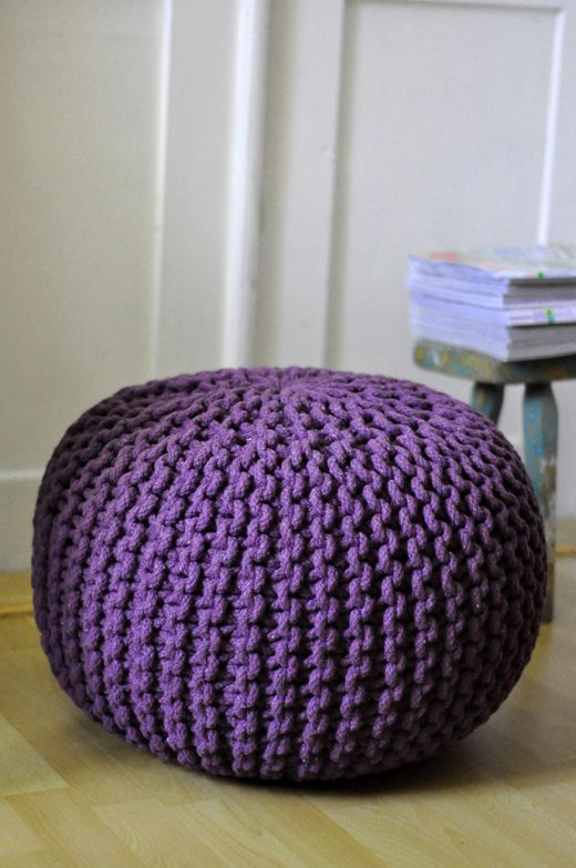 Hand knitted floor cushions in purple
