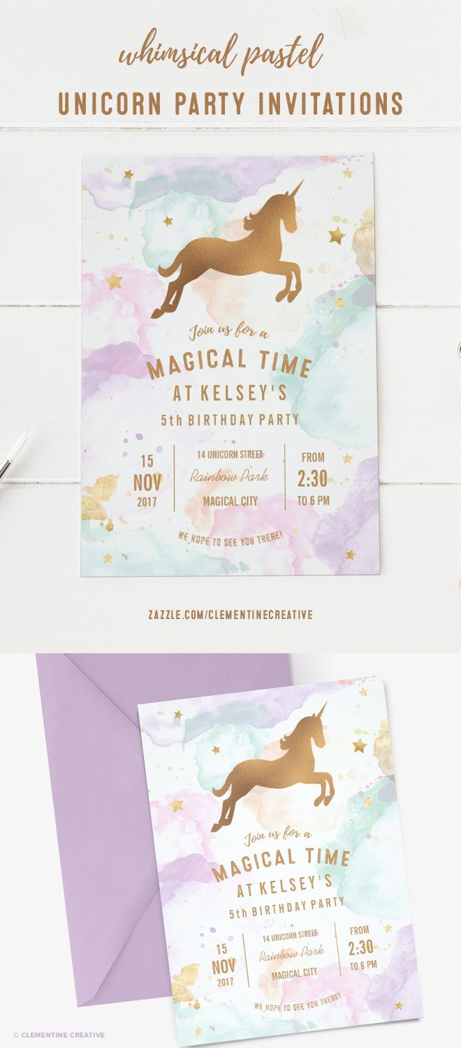 Wow your guests with this whimsical unicorn birthday party invitation. It's cute for small girls but classy enough for teens. It features a colourful pastel cloud background, gold stars and a gold/bronze unicorn. The cloud background can also resemble cotton candy! This birthday party invitation is perfect for a unicorn party, fantasy party or rainbow birthday party.