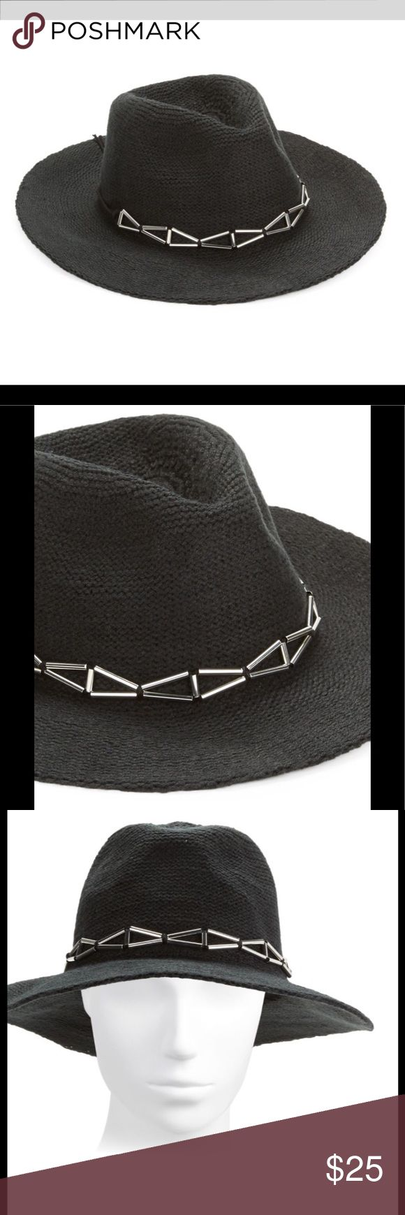 """Panama Hat Black w/ Metallic Band Stay on trend this fall with a fashionable hat. Great for dressing up or covering up a bad hair day! Soft and warm knit in a classic panama style. Metallic embellishments Brim, about 3"""", Polyester/acrylic,  Spot clean, Imported. 08292017759386 BCBGeneration Accessories Hats"""