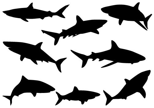 Birthday Cake Clip Art Shark Silhouette Vector | Silhouette Clip Art | Shark