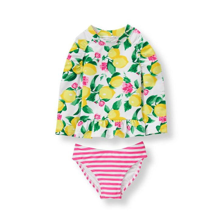 Lemon Print Lemon Rash Guard Set at JanieandJack