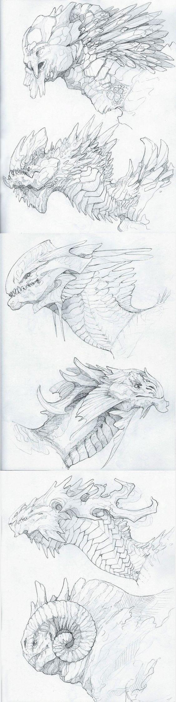 Dragon heads for Jesse! by OddOsprey.deviantart.com on @DeviantArt    ★ || CHARACTER DESIGN REFERENCES™ (https://www.facebook.com/CharacterDesignReferences & https://www.pinterest.com/characterdesigh) • Love Character Design? Join the #CDChallenge (link→ https://www.facebook.com/groups/CharacterDesignChallenge) Promote your art in a community of over 50.000 artists! || ★