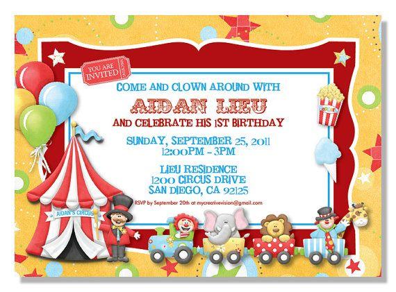 Circus Birthday Invitations Digital File – Invitations for Birthdays