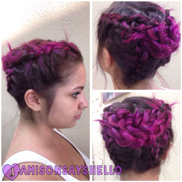 Creative color and braid by Jamie at Salon Amerige in Fullerton, CA. I used pravana, scruples, Goldwell, and Schwarzkopf products to create these magenta, fuchsia, pink, and purple locks.