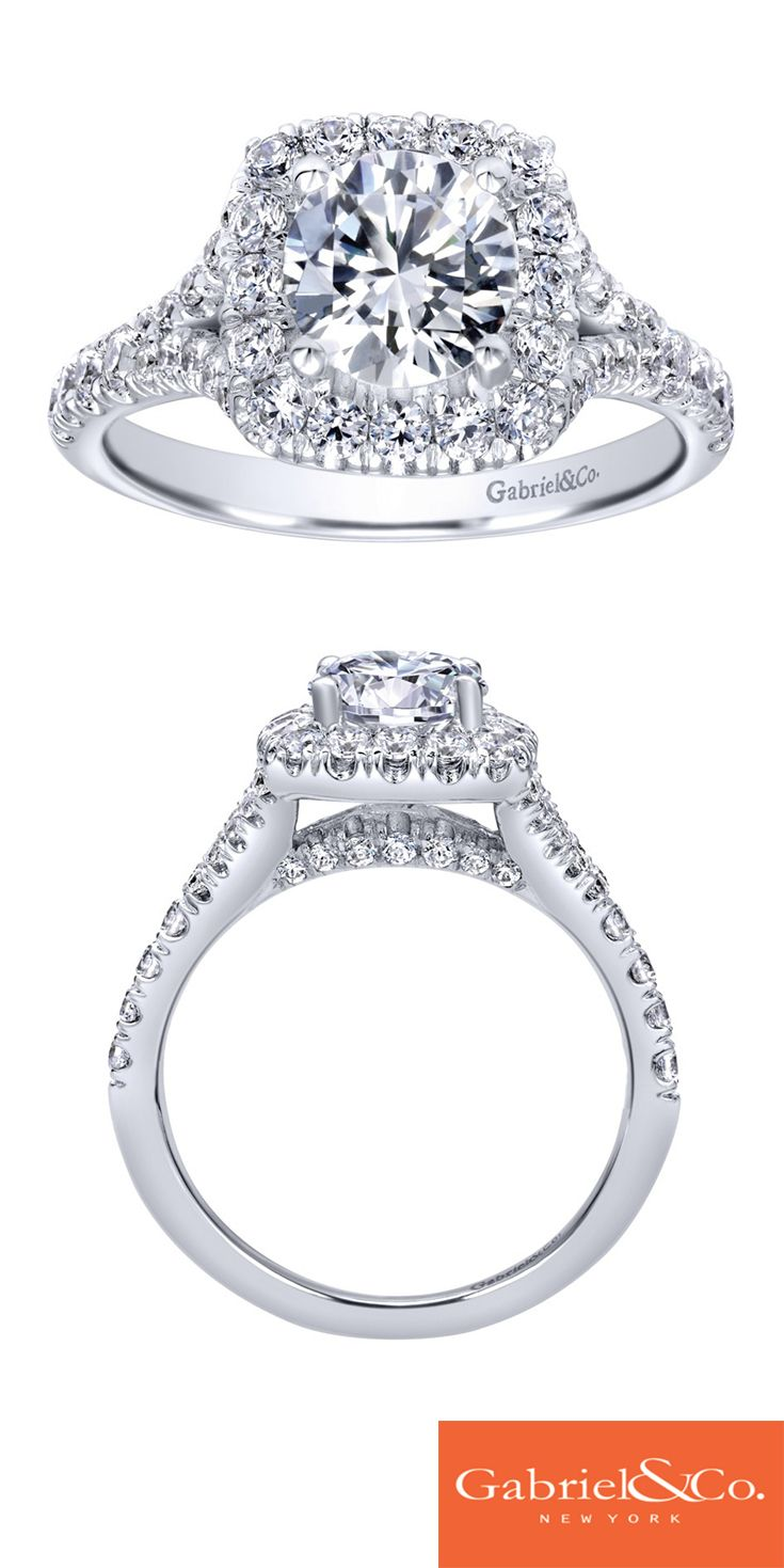A stunning 14k White Gold Diamond Halo Engagement Ring. Discover your perfect engagement ring at Gabriel & Co.