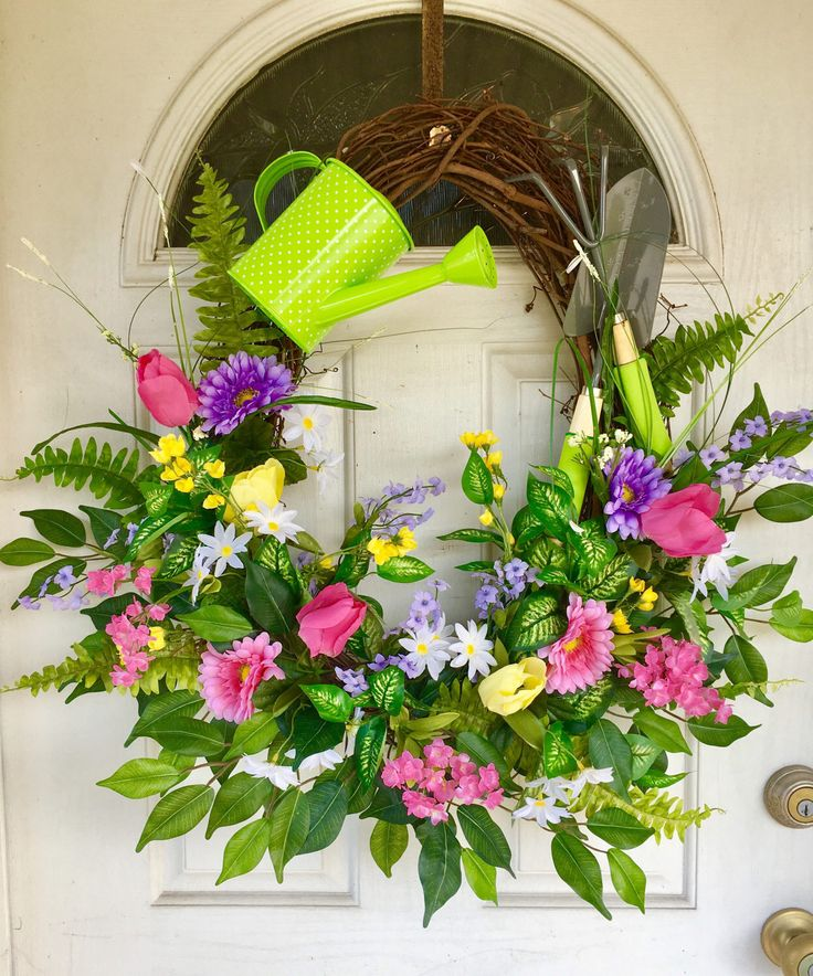 Spring wreath made on a oval grapevine
