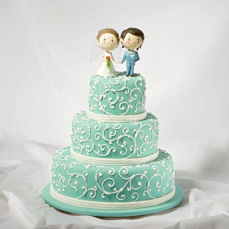 Свадебный торт Тиффани для Кирилла и Николины. Фигурки выполнены в стиле Лав Из. Выполнено в Мастерская тортов Владимира Сизова.