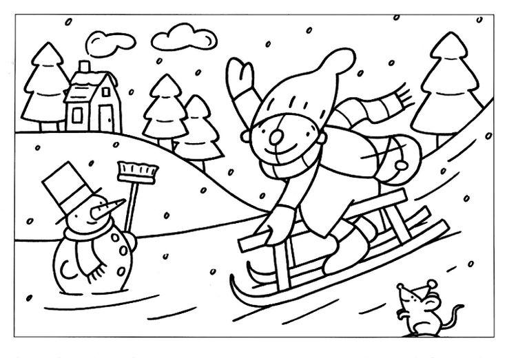 Kleurplaten Winter Slee.Kleurplaten Pompom Winter Brekelmansadviesgroep