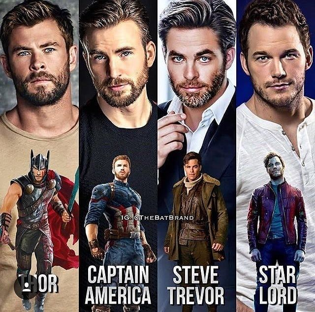 All the Chrises of Marvel and the one wannabe Chris from DC....
