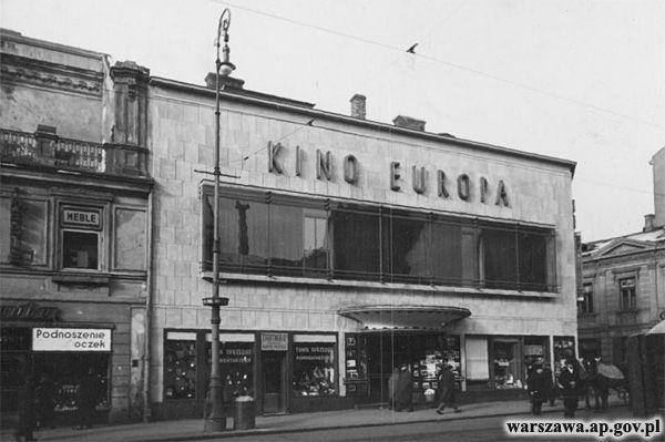 """Warszawa międzywojenna - kino """"Europa"""", Nowy Świat 63 róg Świętokrzyska 1"""