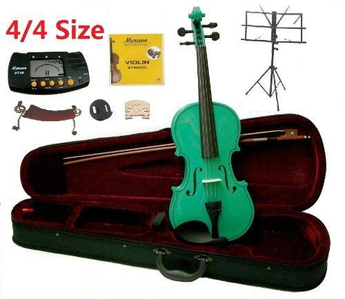 Merano 44 Full Size Green Student Violin with Case and BowExtra Set of Strings Extra Bridge Shoulder Rest Rosin Metro Tuner Black Music Stand Rubber Mute * Visit the image link more details. Note:It is affiliate link to Amazon.
