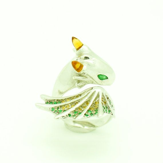 Citrine Emerald Dragon Silver Ring by MONVATOOLondon on Etsy