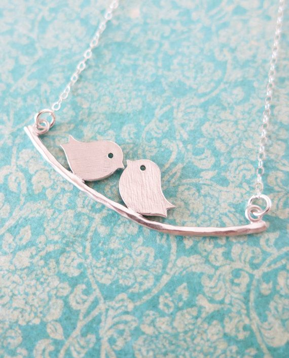 Silver Love Birds necklace  Bird On Branch by ColorMeMissy on Etsy
