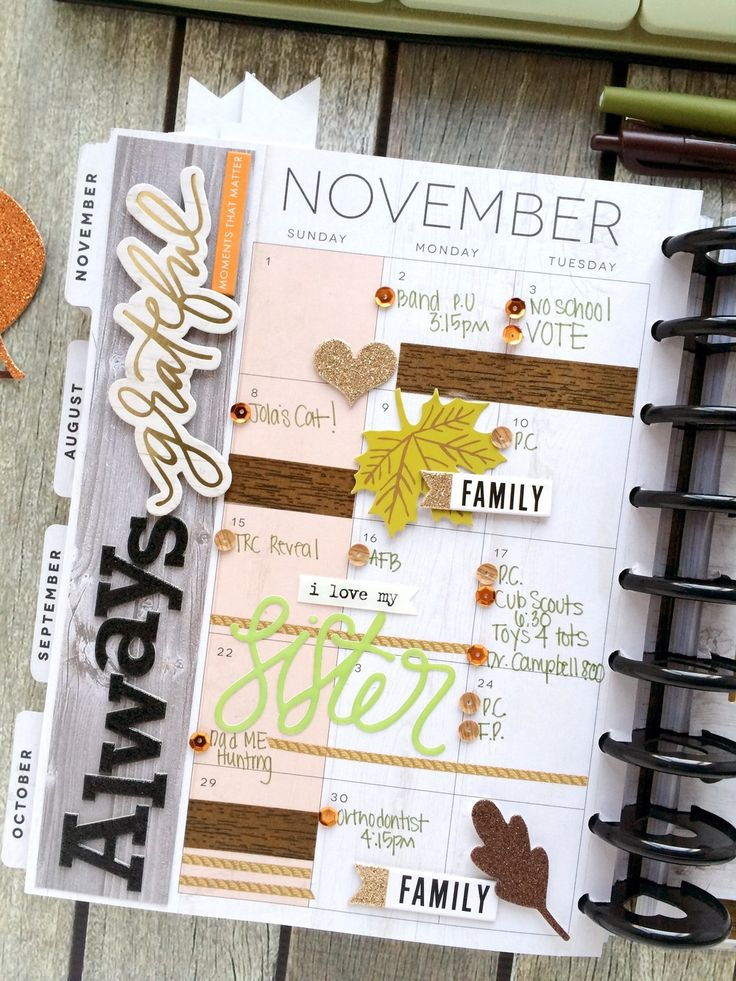 'Happy Grateful' November monthly spread in the The Happy Planner™ of mambi Design Team member Mary-Ann Maldonado | me & my BIG ideas