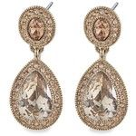 Carolee  Topaz Crystal Double Drop Pierced Earrings