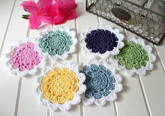 Crochet Flower Power Coasters Set of Six by threadbarehandmadeau