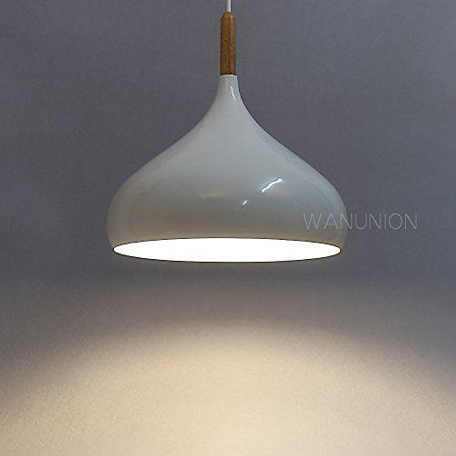 Wanunion Modern Pendant Lighting Fixture Metal Ceiling Pendant Light Shade 320MM Onion Wood Aluminum Pendant Light ShadeWhite >>> Click on the image for additional details.