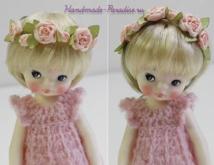 Ободок с розочками из ткани для куклы. Рукодельницам, любящим создавать кукол, хочу предложить сделать кукольное украшение - ободок с розочками из ткани