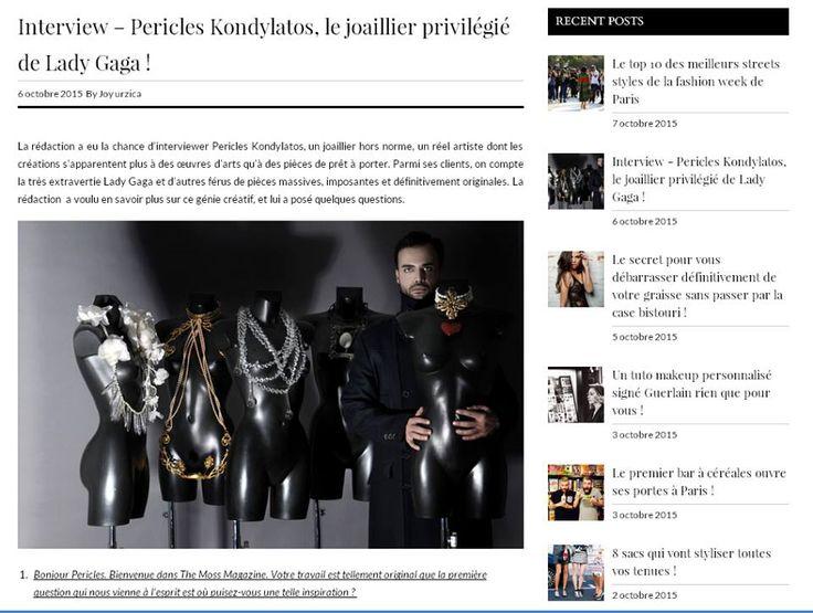"""Kondylatos jewels featured @ """"Moss"""" magazine October 2015 Interview – Pericles Kondylatos, le joaillier privilégié de Lady Gaga ! Link: http://themossmagazine.com/de-kondynatos-un-joaillier-hors-norme/"""