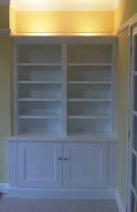 Skirting base alcove cabinets with panel mould doors