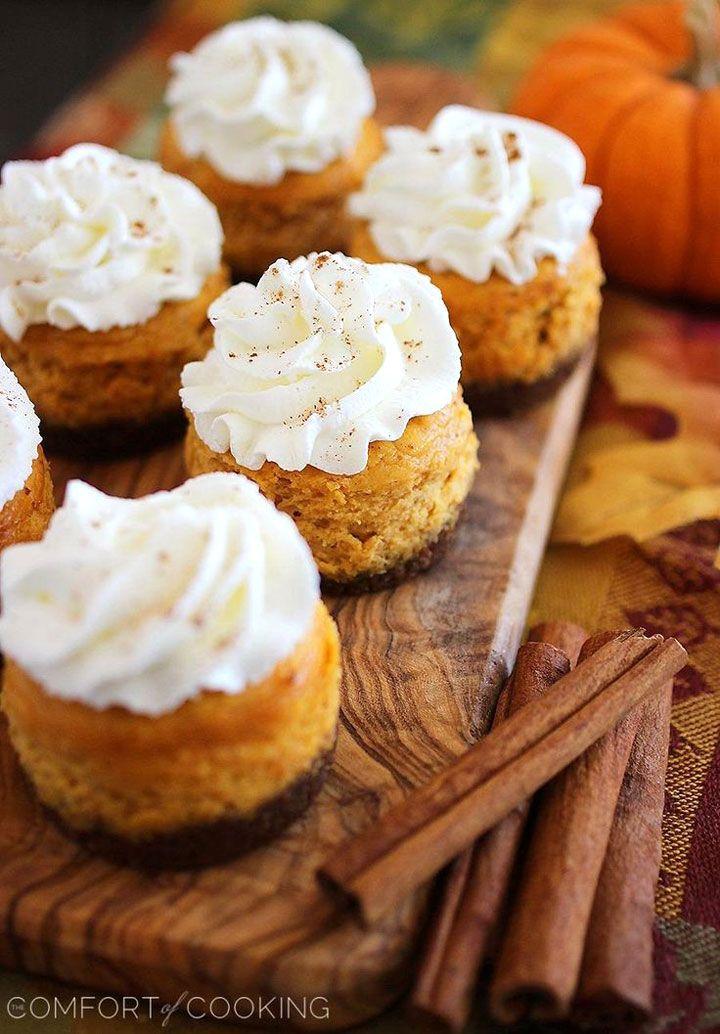 Thanksgiving pumpkin desserts: Mini Pumpkin Cheesecakes with Gingersnap Crusts