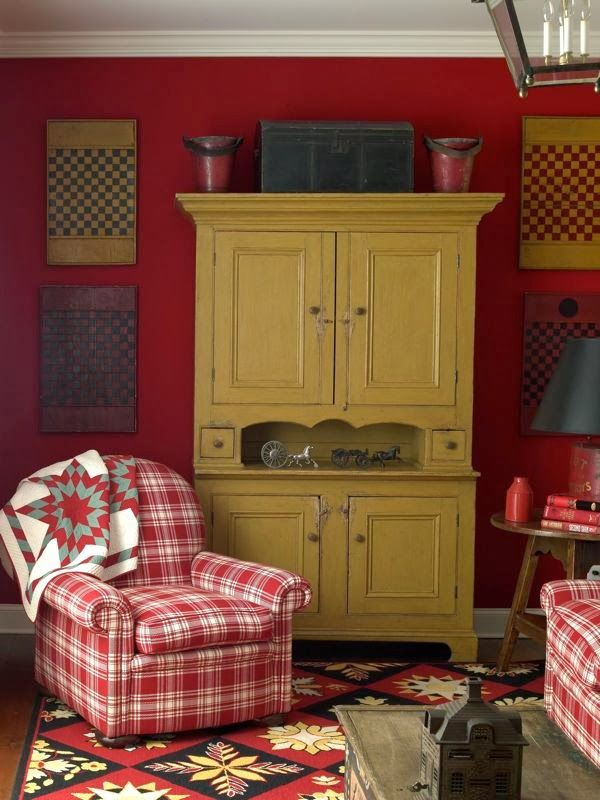 RED. Reds with mustard are an inviting combination.