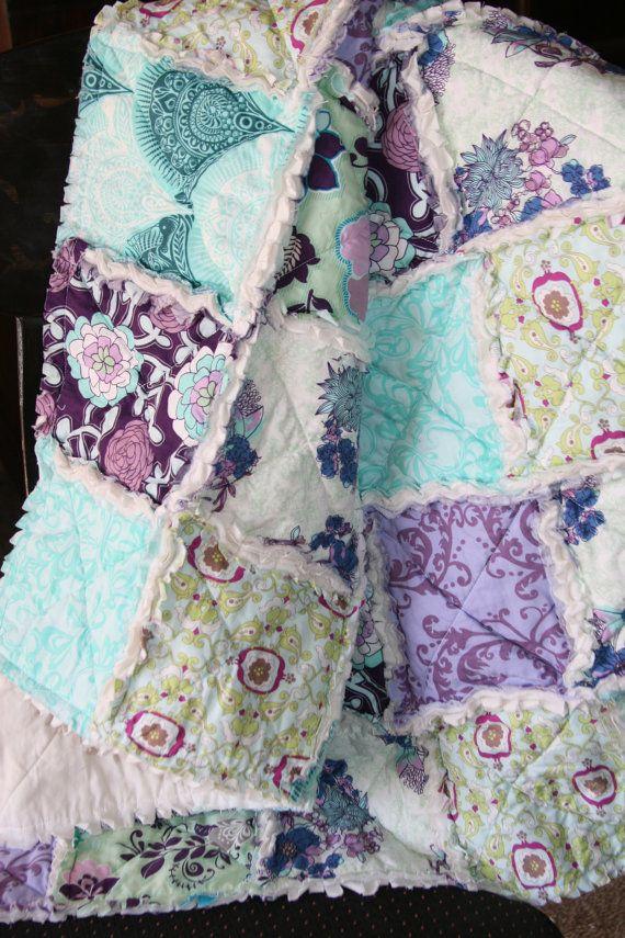 Omg!!!! I love this... Baby Girl Rag Quilt Purple Teal Aqua Nursery Ready to by justluved #mamasandpapas #dreamnursery