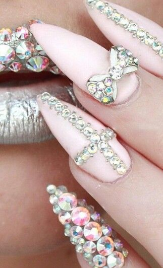 The 25 best rhinestone nail designs ideas on pinterest nails pink rhinestone nails sssamantha prinsesfo Choice Image