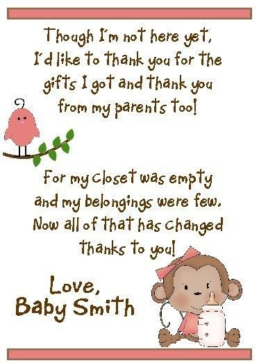 Baby shower thank you thank you cards and baby showers on pinterest