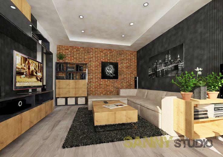 Návrh interiéru spoločenskej časti 2,5 izbového bytu na Račianskom mýte v Bratislave