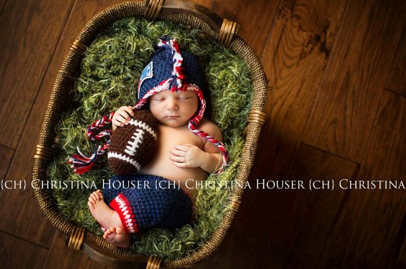 2 Piece Crochet Baby Boy Mohawk Football Set by PattiCakeBowtique