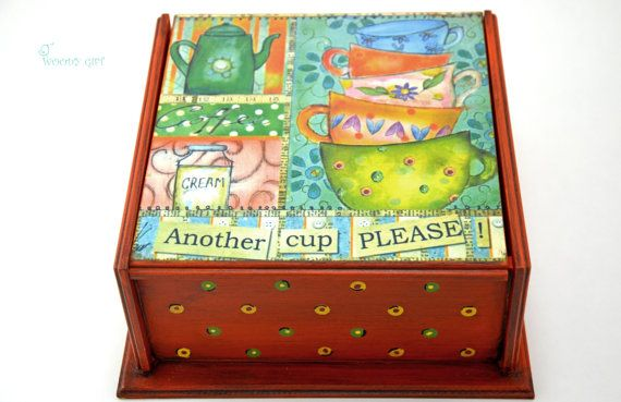 """Welcome to Woody Gift! We offer only UNIQUE HANDMADE ITEMS!  Charming Wooden Tea Box """"Another cup, please"""". Will give warm and comfortable atmosphere"""