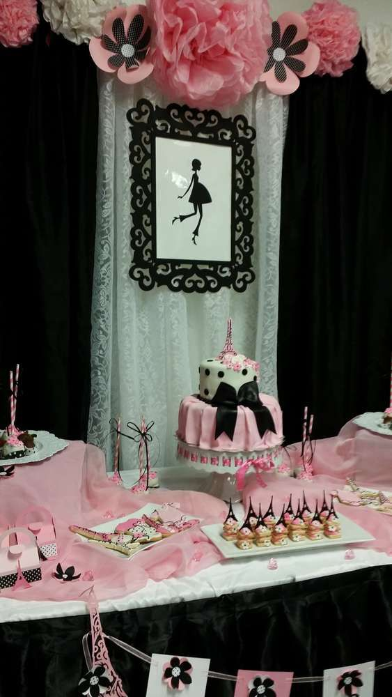 Pink and black Paris baby shower party! See more party planning ideas at CatchMyParty.com!