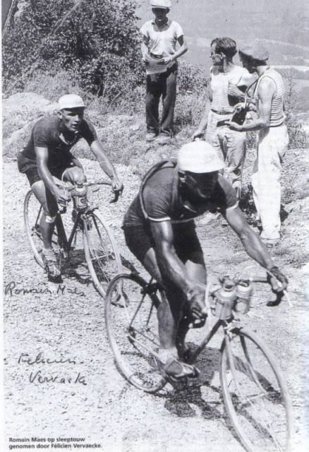 Romain Maes following his team mate in TdF 1935