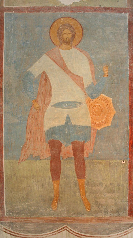Музей фресок Дионисия - Разрез по северному продольному нефу. Вид на юг - Великомученик Никита