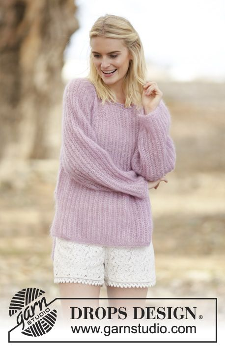 "Knitted jumper with English rib, vent and raglan in 2 strands ""Kid-Silk"". #FreePattern by #DROPSDesign"