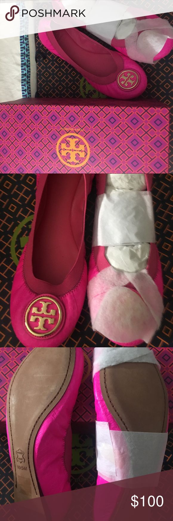 Tory Burch Caroline 2 Neon Flat Brand New in box!!!! Rare, sold-out Neon Pink perfect for a stylish Spring and Summer!!! Elastic band and gold-tone logo on toe.  Comes with box and travel bag Tory Burch Shoes Flats & Loafers