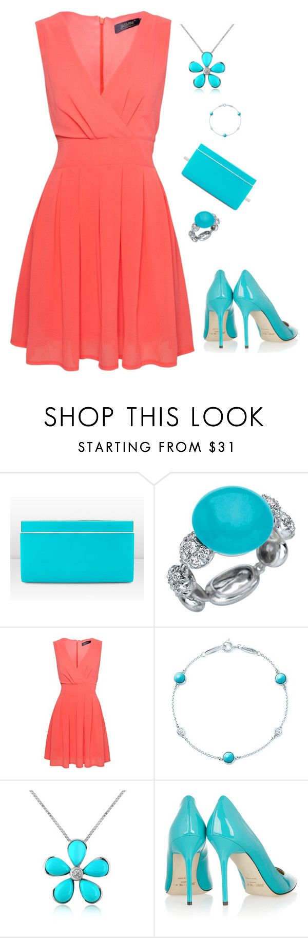 """Coral with Turquoise Accessories"" by shemomjojo ❤ liked on Polyvore featuring Jimmy Choo, Chantecler, Jasmine, Elsa Peretti and Del Gatto"